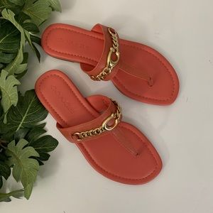 Coach Jaclyn Leather Thong Sandals